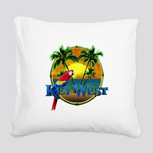 Key West Sunset Square Canvas Pillow