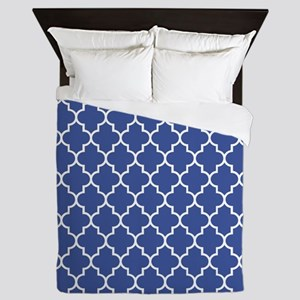 Navy blue quatrefoil pattern Queen Duvet