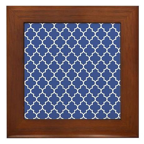 Navy blue quatrefoil pattern Framed Tile by Admin_CP49789583