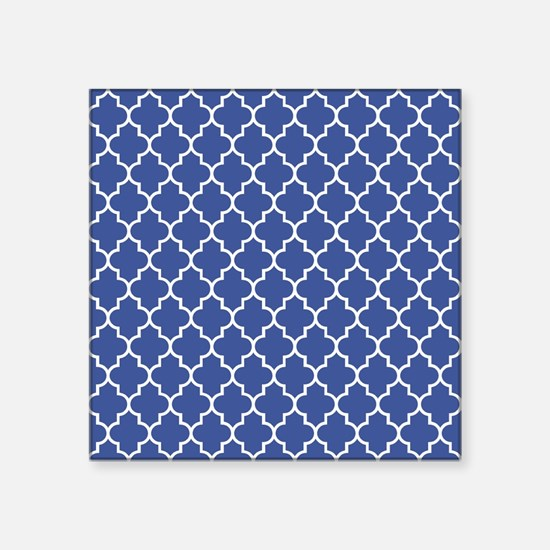 "Navy blue quatrefoil patter Square Sticker 3"" x 3"""