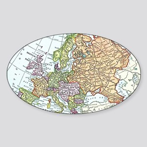 Vintage map of Europe Sticker (Oval)