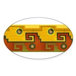 Aztec Design 1 Oval Sticker