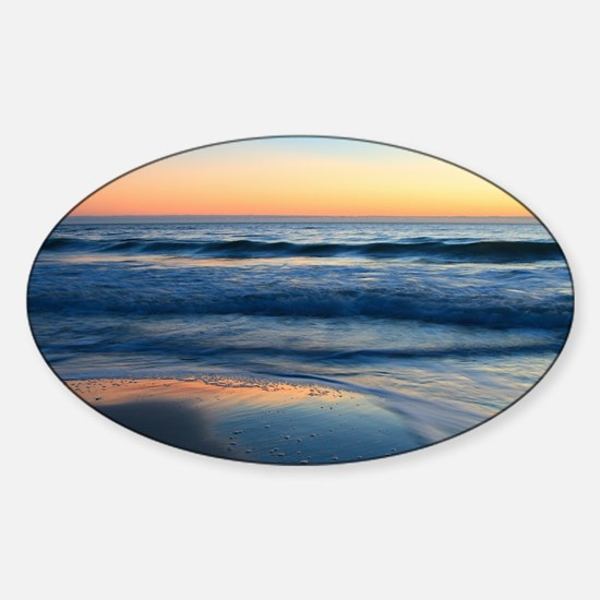 beach and waves at sunset Sticker (Oval)