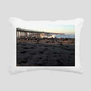 Ventura Pier Sturm Wave Rectangular Canvas Pillow