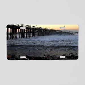 Ocean Wave Storm Pier Aluminum License Plate