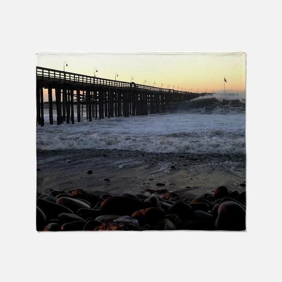 Ocean Wave Storm Pier Throw Blanket