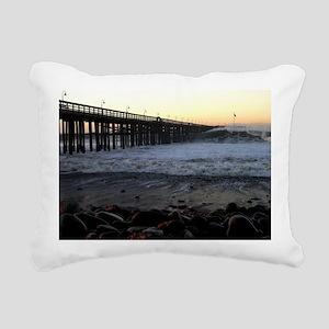 Ocean Wave Storm Pier Rectangular Canvas Pillow