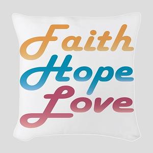 Faith Hope Love Woven Throw Pillow