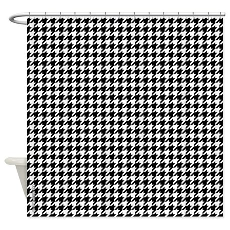 Houndstooth White Shower Curtain
