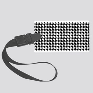 Houndstooth White Luggage Tag