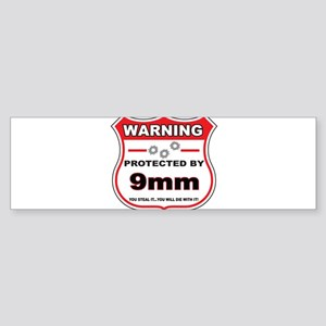 protected by 9mm shield Bumper Sticker