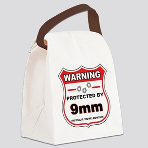 protected by 9mm shield Canvas Lunch Bag