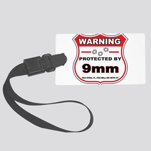 protected by 9mm shield Luggage Tag