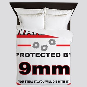 protected by 9mm shield Queen Duvet