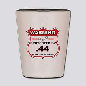 protected by 44 shield Shot Glass