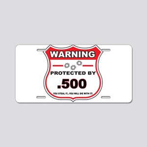 protected by 500 shield Aluminum License Plate