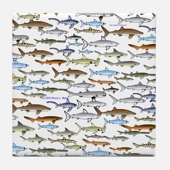 School of Sharks 2 Tile Coaster
