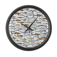 School of Sharks 2 Large Wall Clock