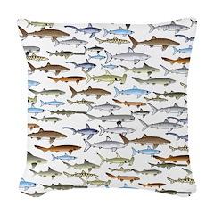 School of Sharks 2 Woven Throw Pillow