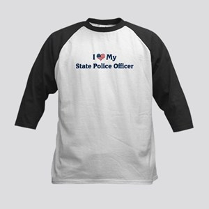 I Love My State Police Office Kids Baseball Jersey
