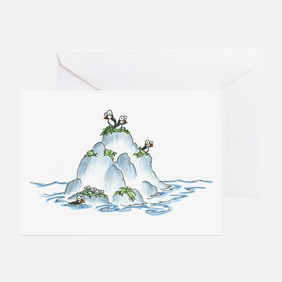 puffins on an island Greeting Cards (Pk of 10)