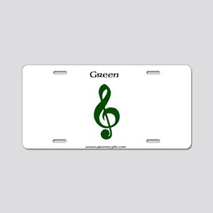 Green music note Aluminum License Plate