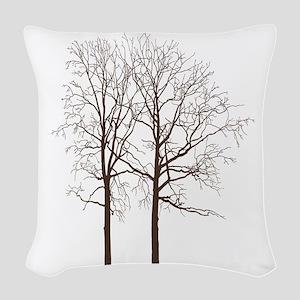 Brown Trees Woven Throw Pillow