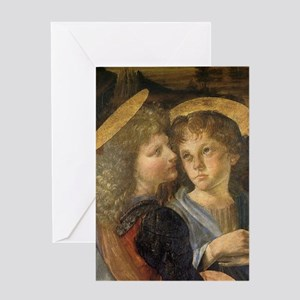 Baptism of Christ Angels Leonardo da Greeting Card