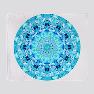 Aqua Lace Mandala Throw Blanket
