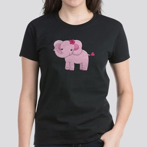 Cute Pink Baby Girl Elephant Women's Dark T-Shirt