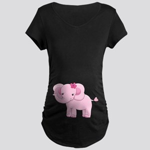 Cute Pink Baby Girl Elephant Maternity Dark T-Shir