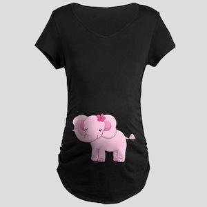 0ba065ce6 Women. Cute Pink Baby Girl Elephant Maternity Dark T-Shir