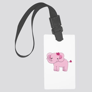 Cute Pink Baby Girl Elephant Large Luggage Tag