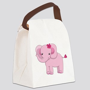 Cute Pink Baby Girl Elephant Canvas Lunch Bag