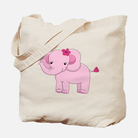 Cute Pink Baby Girl Elephant Tote Bag