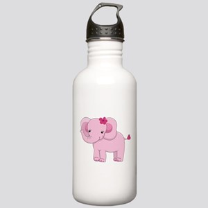 Cute Pink Baby Girl Elephant Stainless Water Bottl