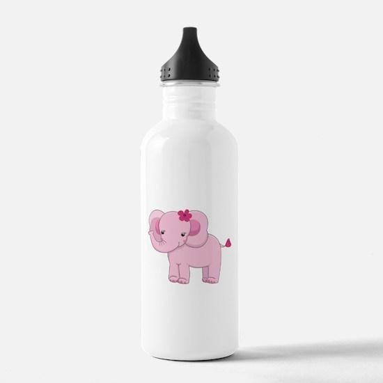 Cute Pink Baby Girl Elephant Water Bottle