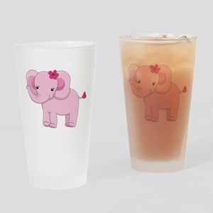 Cute Pink Baby Girl Elephant Drinking Glass