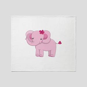 Cute Pink Baby Girl Elephant Throw Blanket