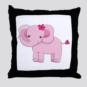Cute Pink Baby Girl Elephant Throw Pillow