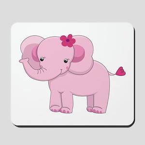 Cute Pink Baby Girl Elephant Mousepad
