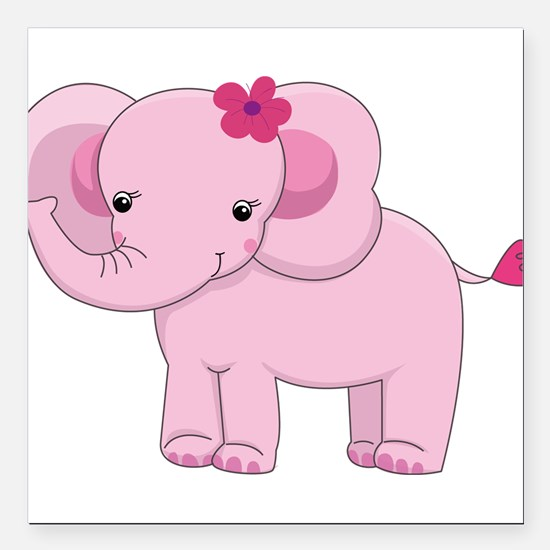Cute Pink Baby Girl Elephant Square Car Magnet 3""