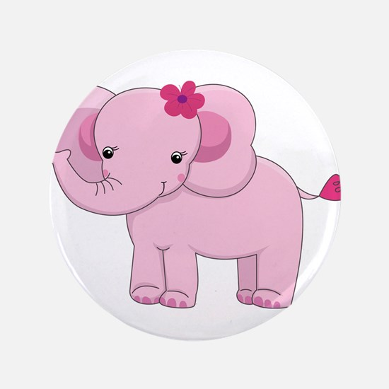"Cute Pink Baby Girl Elephant 3.5"" Button"