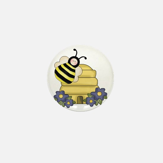 cute beehive and bumble bee Mini Button