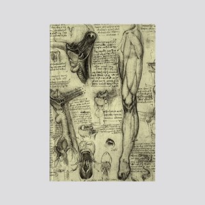 Larynx and Leg by Leonardo da Vin Rectangle Magnet
