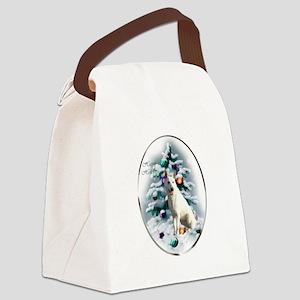White German Shepherd Christmas Canvas Lunch Bag