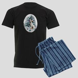 White German Shepherd Christma Men's Dark Pajamas
