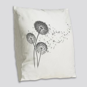 Dandelion Wishes Burlap Throw Pillow