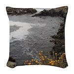 Seal Rock Coastal Scene Woven Throw Pillow