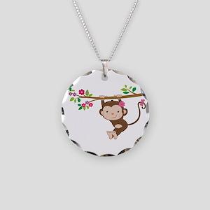 Swinging Baby Monkey Necklace Circle Charm